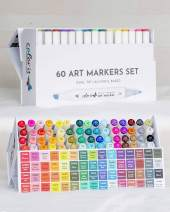 ColorIt 60 Dual Tip Art Markers Set For Coloring - Double Sided Artist Alcohol Permanent Markers With Bullet And Chisel Tip
