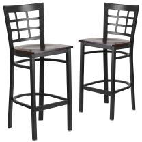 Flash Furniture 2 Pk. HERCULES Series Black Window Back Metal Restaurant Barstool - Walnut Wood Seat
