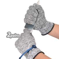 Vgo 2Pairs EN388 level 2 Cut Resistance Kitchen Work Gloves (Size XL,Grey,HY6028)