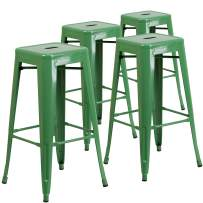 Flash Furniture 4 Pk. 30'' High Backless Green Metal Indoor-Outdoor Barstool with Square Seat