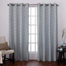 Exclusive Home Baroque Textured Linen Look Jacquard Grommet Top Curtain Panel Pair, Ice Blue, 54x84