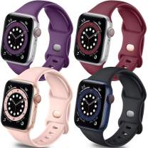 Getino Band Compatible with Apple Watch 40mm 38mm iWatch SE & Series 6 5 4 3 2 1, Stylish Breathable Soft Silicone Replacement Strap for Women Men, 4 Pack, Black, Wine Red, Pink Sand, Purple, S/M