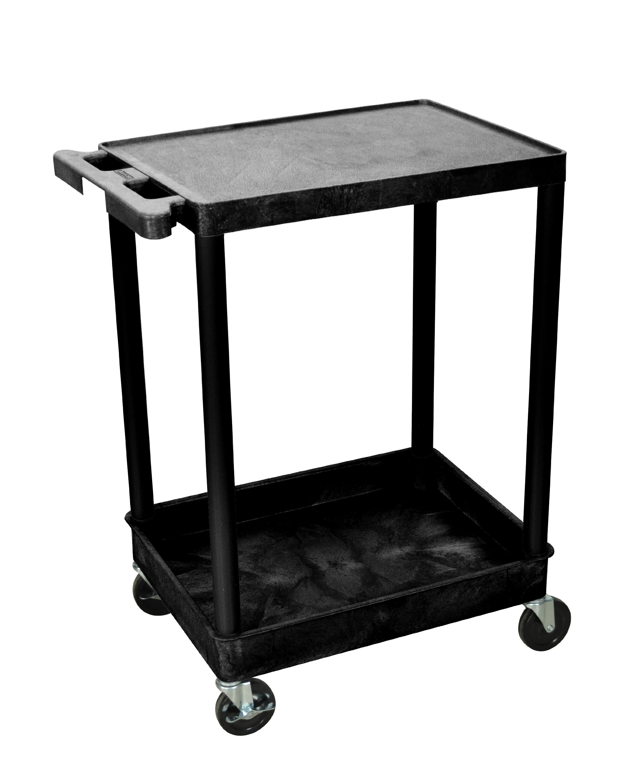 H Wilson STC21-B STC Series 18 x 24 Inch 2-Shelf Utility Cart, Black