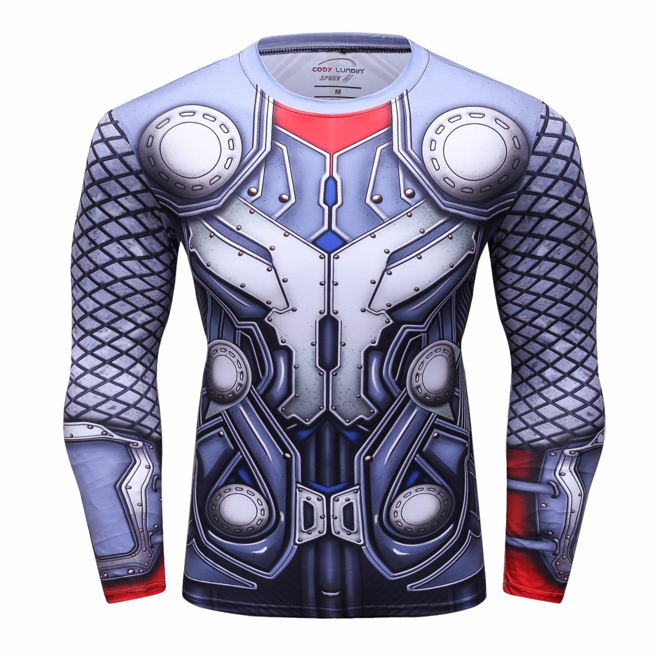Red Plume Men's Thunder Superhero Sports Shirt Party/Gift Running Functional Long Sleeve Tee