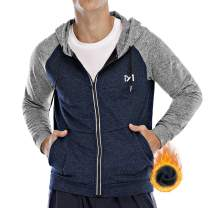 Running Jacket for Men, Long Sleeve Shirt Hooded Track Top Reflective Full Zip Sports Fitness Workout Gym Active Jacket