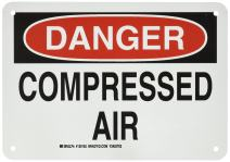 """Brady 126162 Chemical and Hazard Sign, Legend""""Compressed Air"""", 7"""" Height, 10"""" Weight, Black and Red on White"""