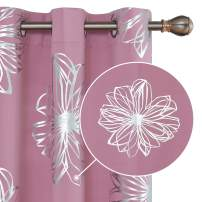 Deconovo Foil Print Floral Thermal Insulated Window Blackout Curtains for Kitchen 42x95 Inch Sweet Pink 1 Pair