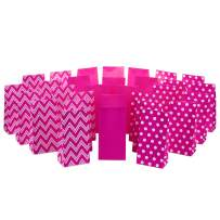 Hallmark Pink Party Favor and Wrapped Treat Bags, Assorted Designs (30 Ct., 10 Each of Chevron, White Dots, Solid) for Valentines Day, Baby Showers, Bridal Showers, Birthdays, Care Packages, May Day