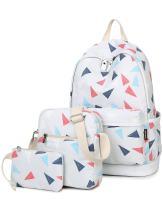 H HIKKER-LINK School Backpack Set Bookbag Shoulder Bag Pencil Pouch 3Pcs Beige