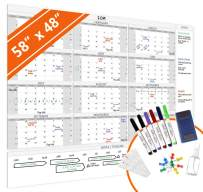 """HEA Large Dry Erase Wall Calendar 2020 58"""" x 48""""   Premium New Laminate   Blank Undated, Reusable & Erasable 12 Month Annual Planner   Classroom, Fiscal Year, Office, Project & Family Schedule"""