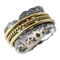 Energy Stone Summer Garden Sterling Silver Meditation Spinner Ring with Brass Spinners (Style US77)
