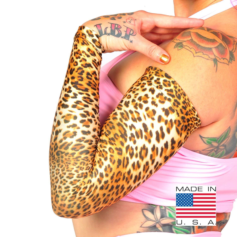 Tat2X Ink Armor Premium Full Arm Tattoo Cover Up Sleeve - No Slip Gripper - U.S. Made - Leopard - XL2X (one Sleeve)