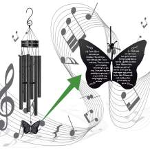 MEMGIFT Memorial Butterfly Wind Chimes for Loss of Father Mother Wife Sympathy Gifts for Loss of Mom Grandma Husband Outdoor Windchimes for Patio Garden Porch Yard Black