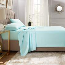 """Empyrean Bedding Premium Flat Sheets – 2-Pack """"110 GSM"""" Top Bed Sheets Double Brushed Microfiber Thick and Comfortable Flat Sheets Set, Luxurious & Soft Hotel Hypoallergenic, Queen, Light Baby Blue"""