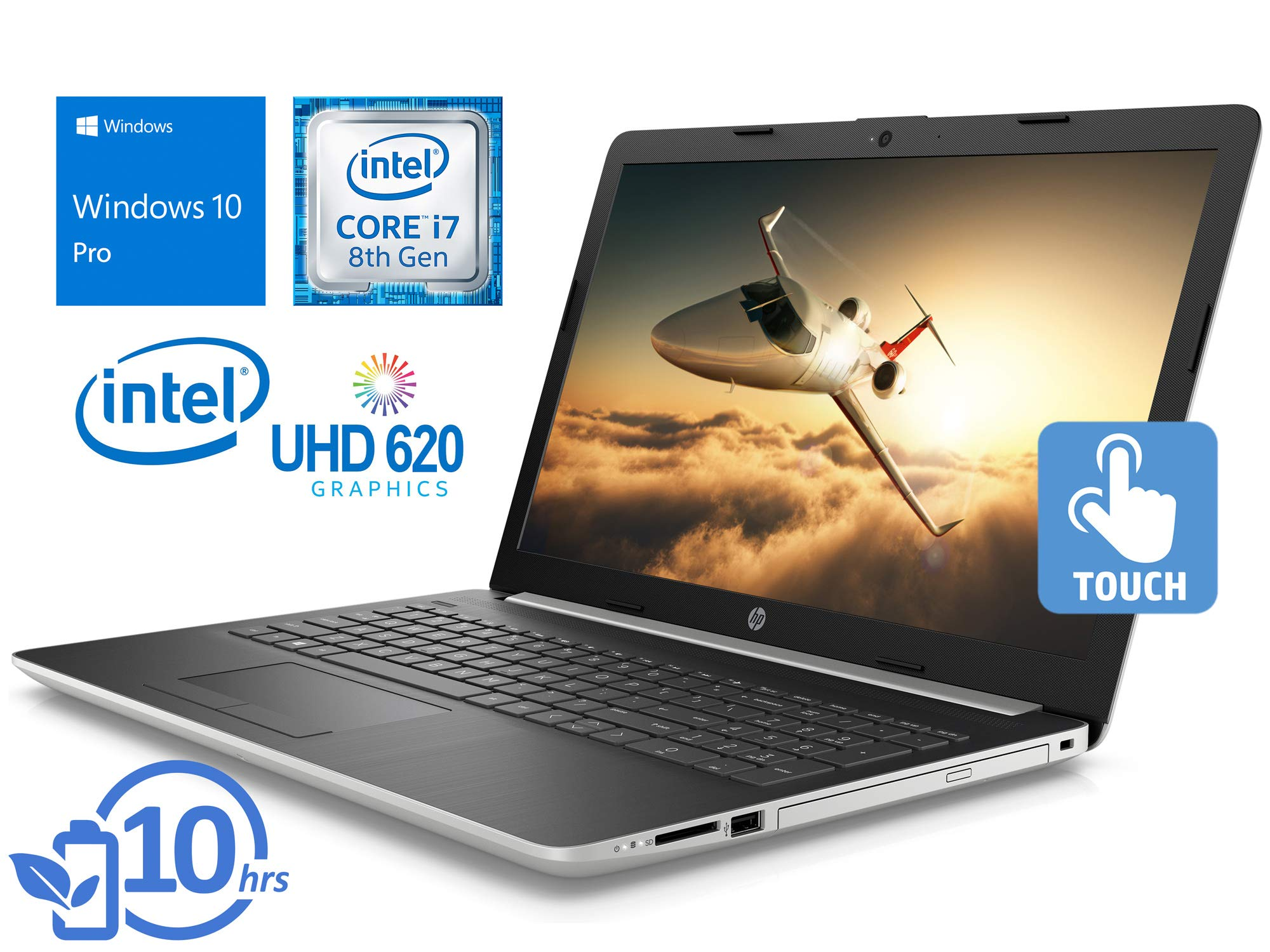 "HP 15 Laptop, 15.6"" HD Touch Display, Intel Core i7-8550U Upto 4.0GHz, 8GB RAM, 1TB NVMe SSD + 1TB HDD, DVDRW, HDMI, Card Reader, Wi-Fi, Bluetooth, Windows 10 Pro"