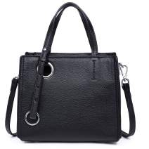 Heshe Women Vintage Leather Cube Small Bag Shoulder Handbags Ladies Purse Satchel with Long Strap Crossbody Bags