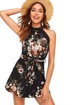 MAKEMECHIC Women's V Neck Sleeveless Floral Print Twist Knot Back Cami Romper