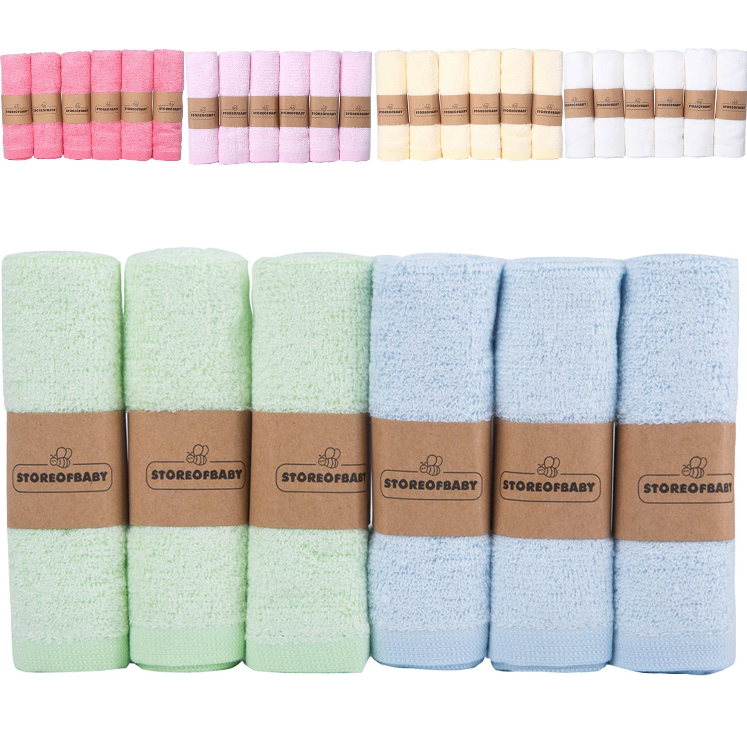 Storeofbaby Infant Baby Washcloths 100% Natural Bamboo Reusable Wipes Towel Pack of 6