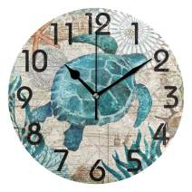 Naanle Chic Vintage Nautical Sea Turtle Starfish Old Map Round Wall Clock, 9.5 Inch Battery Operated Quartz Analog Quiet Desk Clock for Home,Office,School