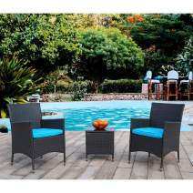 Polar Aurora 3 Pieces Patio Bistro Set - Outdoor Rattan Wicker Furniture Conversation Set for Garden Yard Balcony