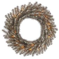 "Vickerman Tinsel Wreath with 50 Lights & 170 Tips, 30"", Clear/Mocha"