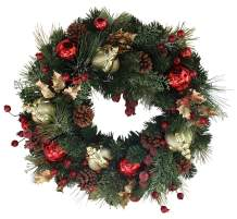 The Wreath Depot Queensbury Decorated Christmas Wreath 22 Inch, Beautiful White Gift Box
