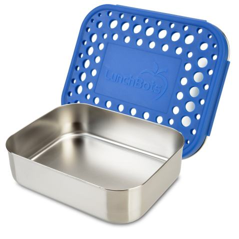 LunchBots Medium Uno Stainless Steel Sandwich Container - Open Design for Wraps - Salads or a Small Meal - Eco-Friendly - Dishwasher Safe and BPA-Free - Blue Dots