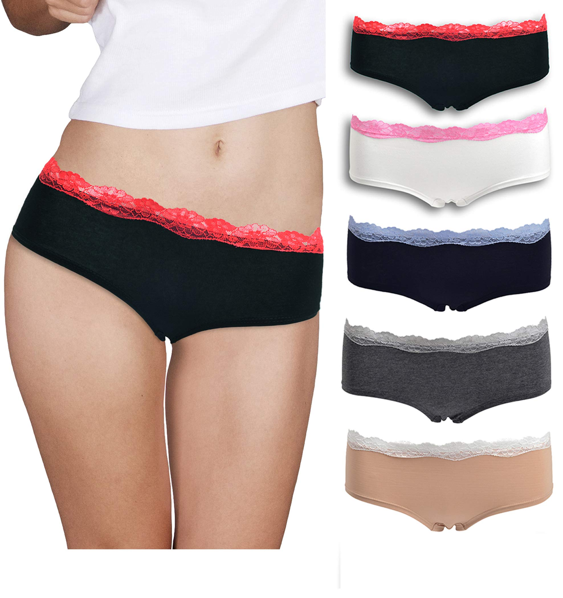 Womens Lace Underwear Hipster Panties Cotton/Spandex - 5 Pack Colors and Patterns May Vary …