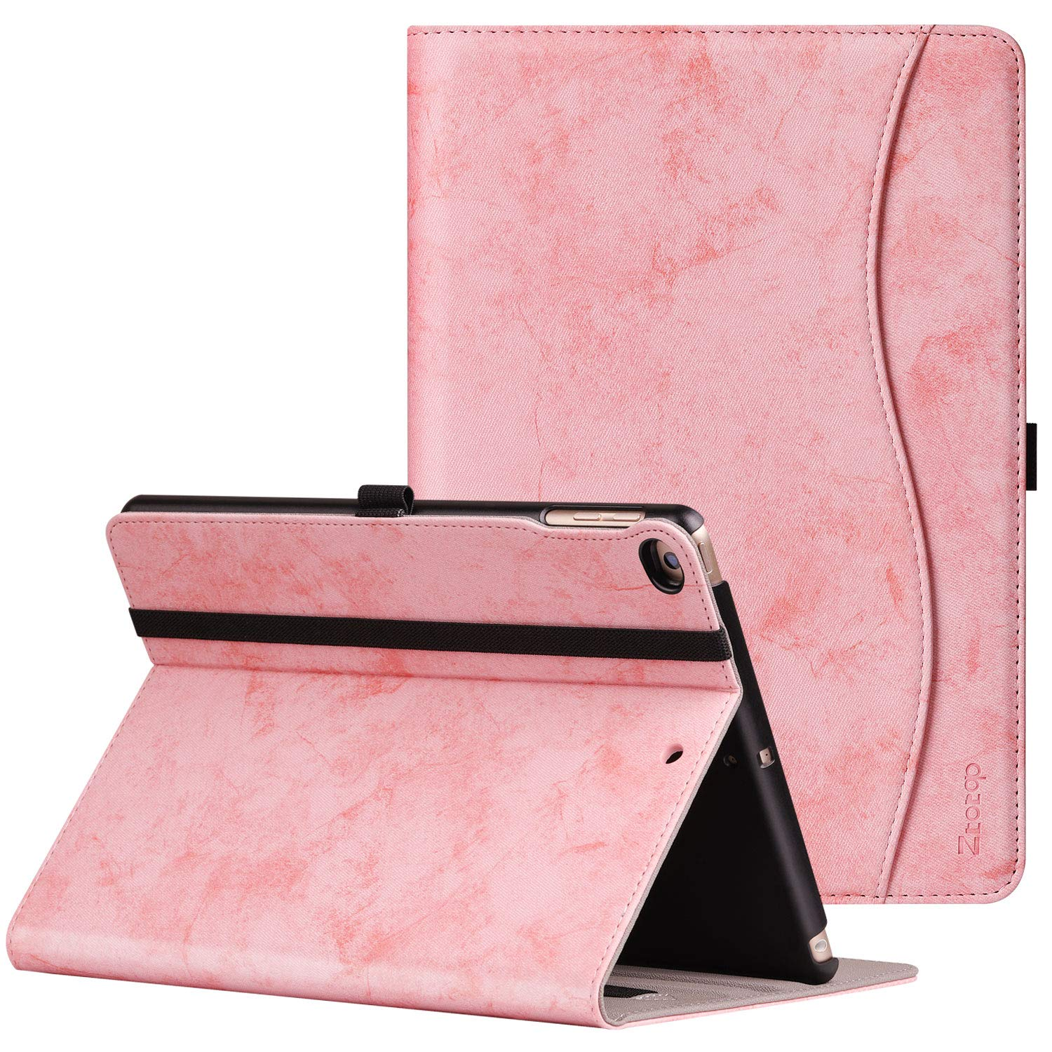 Ztotop Case for New IPad 9.7 Inch 2018/2017,Premium PU Leather Business Slim Folding Stand Folio Cover with Auto Wake/Sleep,Pencil Holder and Multiple Viewing Angles,Mottled Pink