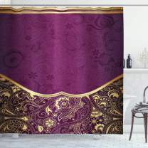 """Ambesonne Eastern Shower Curtain, Oriental and Abstract Swirly Floral Frame Vintage Style, Cloth Fabric Bathroom Decor Set with Hooks, 84"""" Long Extra, Fuchsia Plum"""