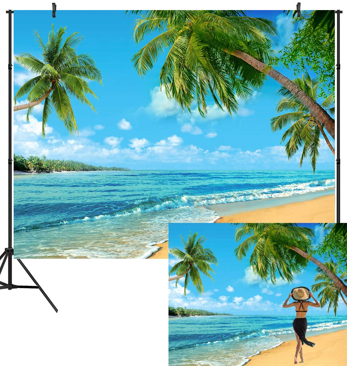 DULUDA 10X8FT Summer Tropical Beach Backdrop Seaside Island Palm Trees Photography Background for Picture Blue Sea Sky Sunshine Luau Themed Party Decorations Photo Booth Studio Props FS27E