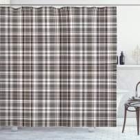 "Lunarable Plaid Shower Curtain, Classic English Tartan Plaid Cells Stripes Scottish Geometric Traditional, Cloth Fabric Bathroom Decor Set with Hooks, 70"" Long, Burgundy Black"