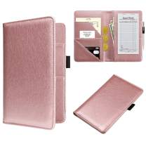 WALNEW Waitress Book Server Wallet Waiter Book Guest Check Pad Holder with Money Pocket Pen Holder for Restaurant Waitstuff Fits Server Apron, Pink