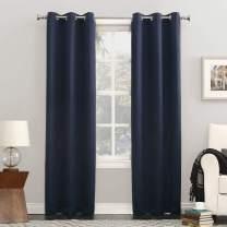 "Sun Zero Easton Blackout Energy Efficient Grommet Curtain Panel, 40"" x 95"", Navy Blue"
