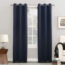 "Sun Zero Easton Blackout Energy Efficient Grommet Curtain Panel, 40"" x 108"", Navy Blue"