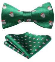 HISDERN Men's Christmas Ball Woven Party Self Bow Tie Pocket Square Set