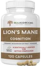 Lion's Mane Mushroom Cognition Capsules (120caps), Organic Lions Mane Mushroom Powder Extract Capsules, Brain Supplement, 60-Day Supply of Organic Mushroom Supplement Brain Vitamins, Focus Supplement