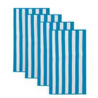 Great Bay Home 100% Cotton Cabana Stripe Beach Towel. Soft Absorbent Quick Dry Towel Set. Diani Collection. (4 Pack, Air Blue)