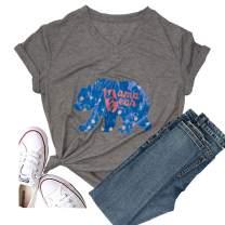 Women's Mama Bear Short Sleeve T-Shirt Christmas Graphic Tees Casual Tops Cute Funny Tee