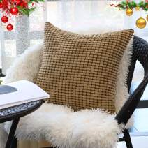 """Decorative Throw Pillow Covers 22"""" x 22"""" (No Insert),Solid Cozy Corduroy Corn Square Pillow Case Cover,Soft Velvet Large Cushion Covers with Hidden Zipper for Couch/Sofa/Bedroom,Light Brown"""