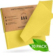SUPERSCANDI Swedish Dishcloths Reusable Biodegradable Cellulose Sponge Cleaning Cloths for Kitchen Dish Rags Washing Wipes Paper Towel Replacement Washcloths (10 Pack Yellow)