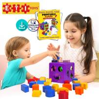 ETI Toys, 19 Piece Unique Educational Sorting & Matching Toy for Toddlers. Colorful Sorter Cube Box & Shapes, 100 Percent Safe, Promotes Fun Learning, Creativity & Skills Development
