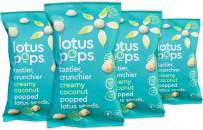 Lotus Pops - Popped Lotus (Water Lily) Seed Snacks – Low Calorie Gluten Free Snacks | Plant Protein | Roasted Not-Fried | Paleo | GrainFree | Non GMO | Healthy Dessert | (Creamy Coconut 4 1oz Packs)