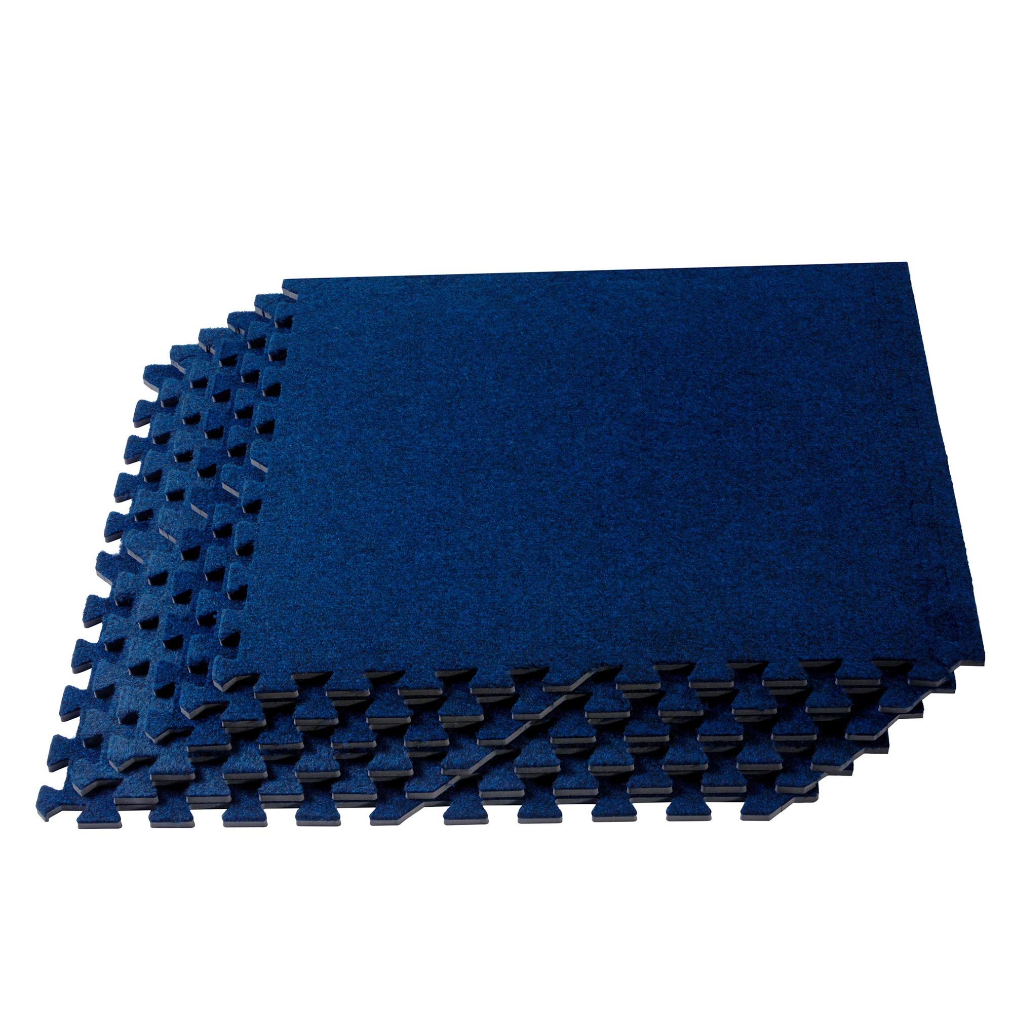 We Sell Mats 3/8 Inch Thick Premium Interlocking Foam Carpet Tiles, Extra Durable Carpet Squares, Anti-Fatigue for Home, Office, or Classroom Use, Vacuum Safe Carpet Tiles, 24 in x 24 in