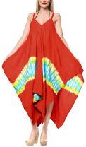 LA LEELA Women's Maxi Beach Dress Regular Office Work Swing Dress Hand Tie Dye A