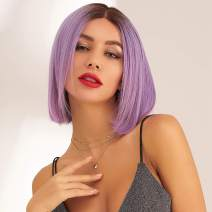 Neitsi Lace Front Short Bob 100% Virgin Hair Wigs 150% Density Pre Plucked and Bleached Knots Natural Hairline 100% Human Hair for Women 10inch (Rose Purple Color)