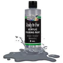 Pouring Masters Silver Dollar Metallic Acrylic Ready to Pour Pouring Paint – Premium 8-Ounce Pre-Mixed Water-Based - for Canvas, Wood, Paper, Crafts, Tile, Rocks and More