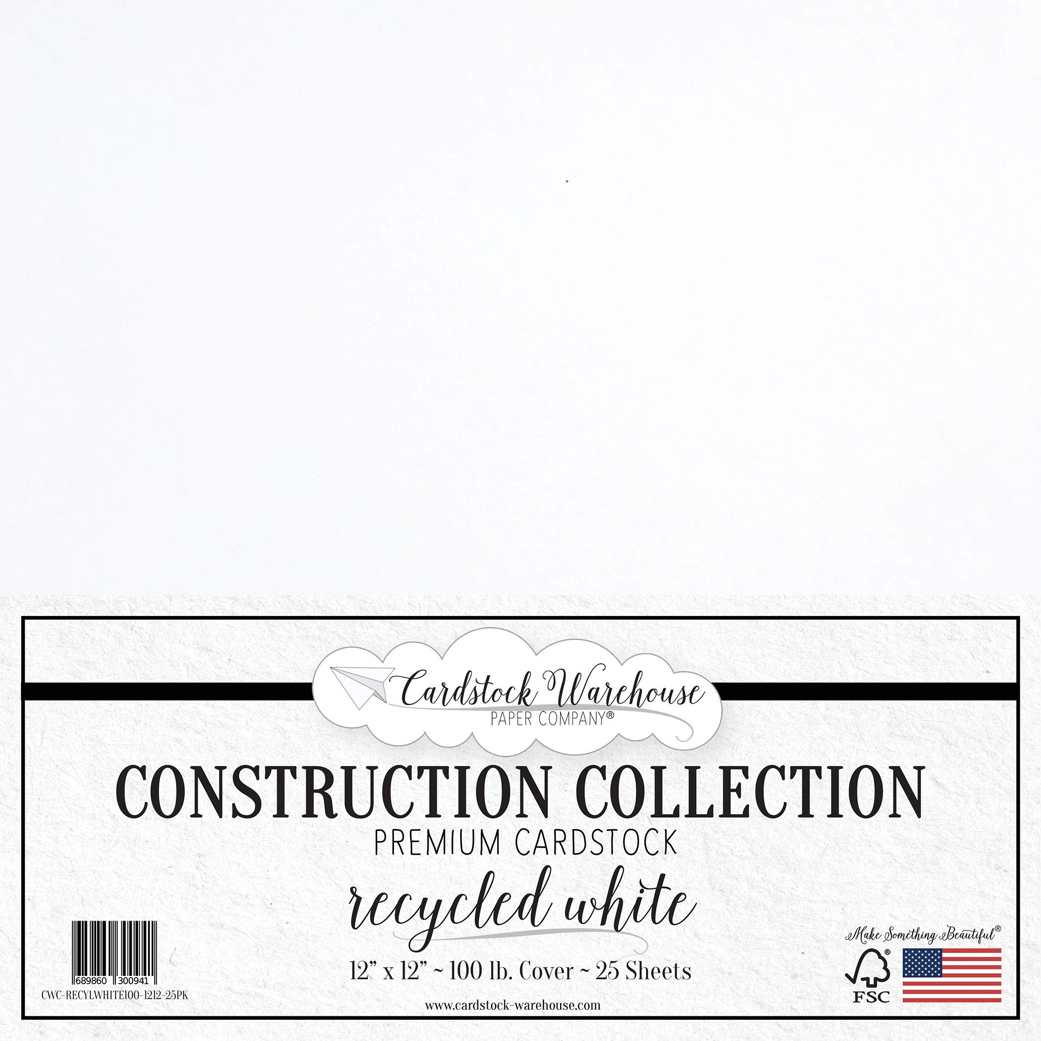 Recycled White Cardstock Paper - 12 x 12 inch Premium 100 LB. Cover from - 25 Sheets from Cardstock Warehouse
