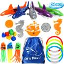 24 PCS Diving Toy Set Underwater Swimming Pool Toys with 4 Diving Rings, 3 Octopus, 5 Diving Fish, 5 Pirate Accessories, 6 Under Water Treasures and 1 Drawstring bag Gift Set Bundle for Kids (24 Pack)