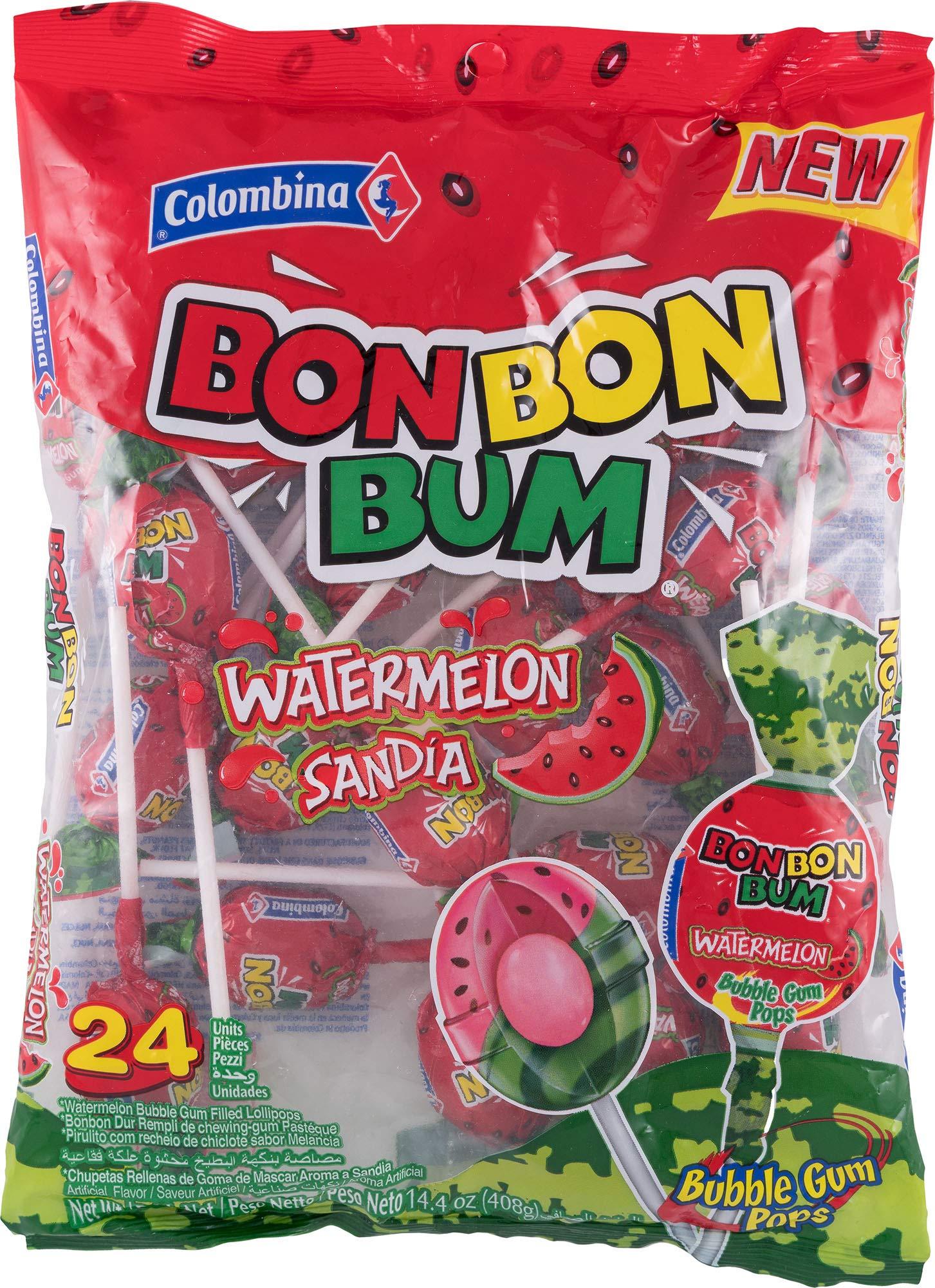 Colombina Bon Bon Bum Watermelon Bubble Gum Lollipops, Pack of 24 Bubble Gum Pops